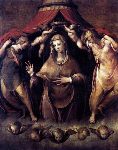 Cecchino Del Salviati Coronation of the Virgin with Angels - Hand Painted Oil Painting