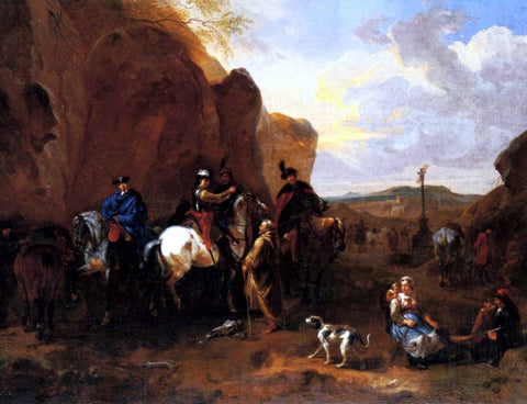 Dirck Maas Cossacks On Horseback Asking A Hermit For Directions - Hand Painted Oil Painting