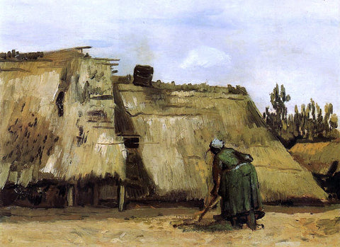 Vincent Van Gogh Cottage with Woman Digging - Hand Painted Oil Painting