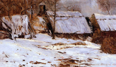 Maxime Maufra Cottages in the Snow - Hand Painted Oil Painting