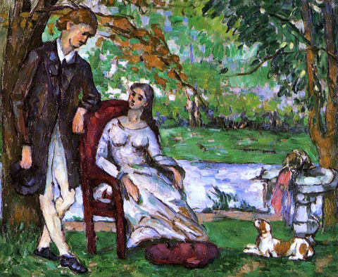 Paul Cezanne Couple in a Garden (also known as The Conversation) - Hand Painted Oil Painting