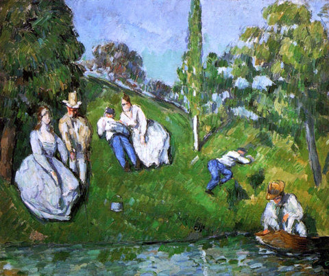 Paul Cezanne Couples Relaxing by a Pond - Hand Painted Oil Painting