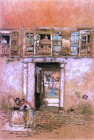 James McNeill Whistler Courtyard and Canal - Hand Painted Oil Painting