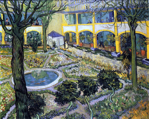 Vincent Van Gogh Courtyard of the Hospital in Arles - Hand Painted Oil Painting