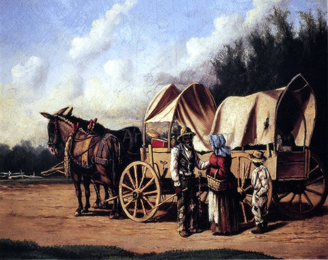William Aiken Walker Covered Wagon with Negro Family - Hand Painted Oil Painting