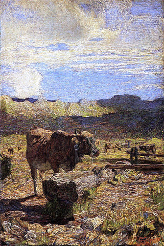 Giovanni Segantini Cow at a Water Trough - Hand Painted Oil Painting