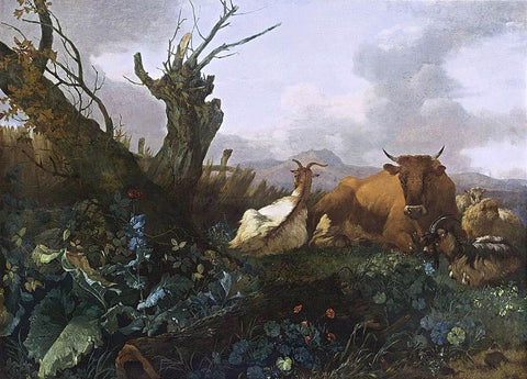 Willem Romeijn Cow, Goats and Sheep in a Meadow - Hand Painted Oil Painting