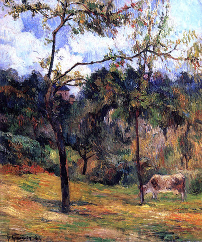 Paul Gauguin Cow in a Meadow, Rouen - Hand Painted Oil Painting