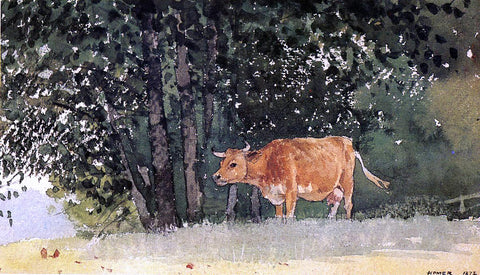 Winslow Homer Cow in Pasture - Hand Painted Oil Painting