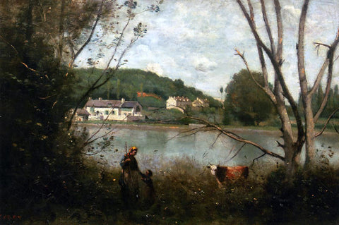 Jean-Baptiste-Camille Corot Cowherd and Her Child - Hand Painted Oil Painting