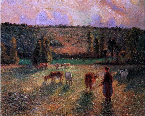 Camille Pissarro Cowherd at Eragny - Hand Painted Oil Painting