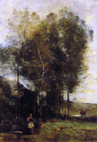 Jean-Baptiste-Camille Corot Cowherd in a Dell, Souvenir of Brittany - Hand Painted Oil Painting
