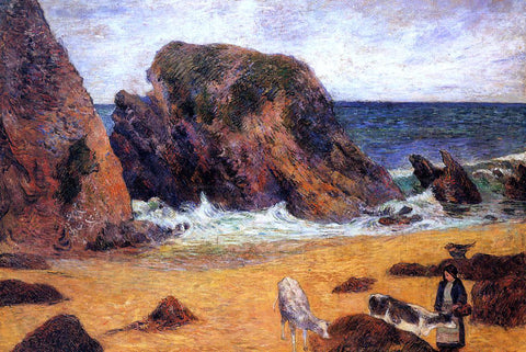 Paul Gauguin Cows by the Sea - Hand Painted Oil Painting