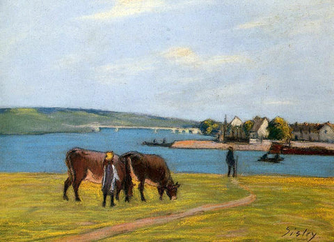 Alfred Sisley Cows by the Seine at Saint-Mammes - Hand Painted Oil Painting