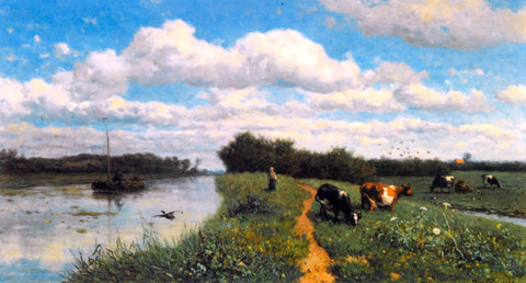 Willem Roelofs Cows Grazing Near a Canal, Schiedam - Hand Painted Oil Painting