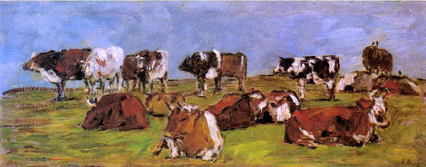 Eugene-Louis Boudin Cows in a Field - Hand Painted Oil Painting