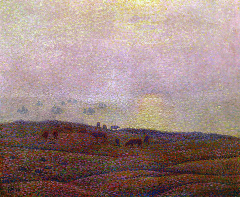 Theo Van Rysselberghe Cows in a Landscape - Hand Painted Oil Painting