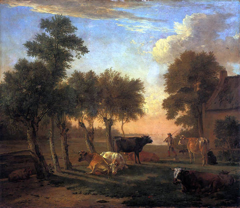 Paulus Potter Cows in a Meadow by a Farm - Hand Painted Oil Painting