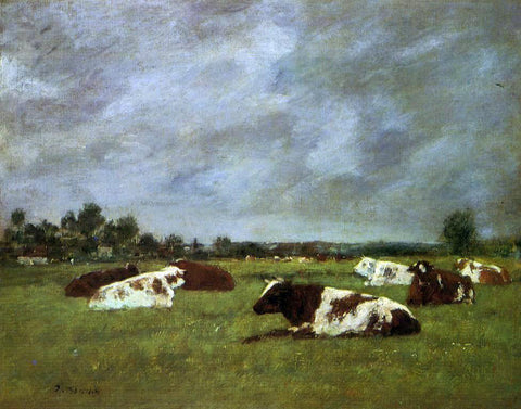 Eugene-Louis Boudin Cows in a Meadow, Morning Effect - Hand Painted Oil Painting