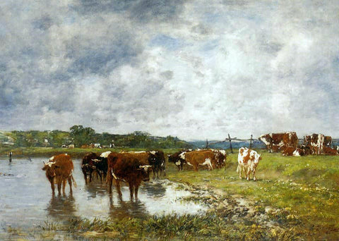 Eugene-Louis Boudin Cows in a Meadow on the Banks of the Toques - Hand Painted Oil Painting