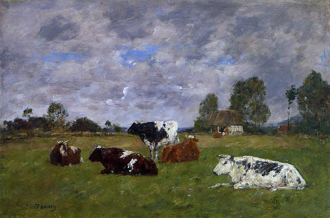 Eugene-Louis Boudin Cows in a Pasture - Hand Painted Oil Painting