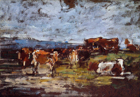 Eugene-Louis Boudin Cows in Pasture - Hand Painted Oil Painting