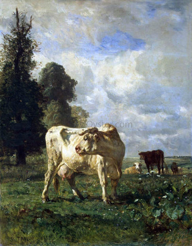 Constant Troyon Cows in the Field - Hand Painted Oil Painting