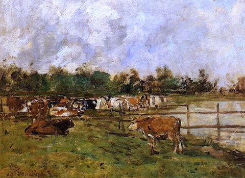 Eugene-Louis Boudin Cows in the Meadow - Hand Painted Oil Painting