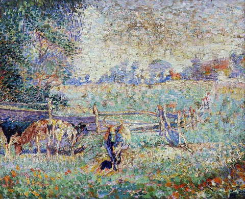 Emile Claus Cows in the Pasture - Hand Painted Oil Painting