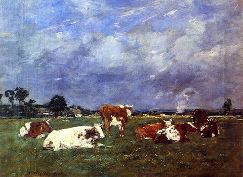 Eugene-Louis Boudin Cows in the Pasture - Hand Painted Oil Painting