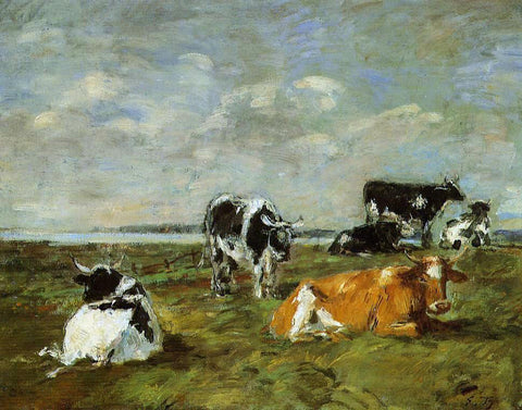 Eugene-Louis Boudin Cows near the Sea - Hand Painted Oil Painting