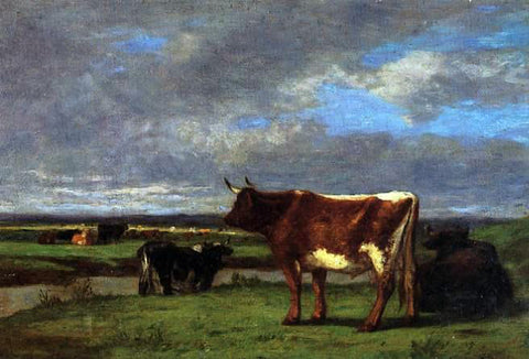 Eugene-Louis Boudin Cows near the Toques - Hand Painted Oil Painting