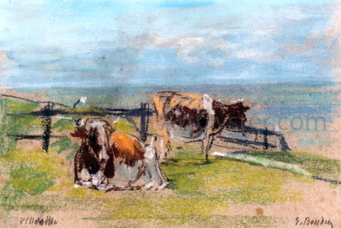 Eugene-Louis Boudin Cows on a Cliff at Villerville - Hand Painted Oil Painting