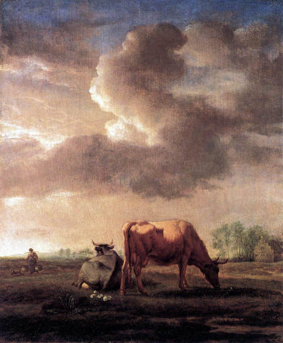 Adriaen Van de Velde Cows on a Meadow - Hand Painted Oil Painting