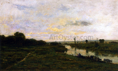 Charles Francois Daubigny Cows on the Banks of the Seine, at Conflans - Hand Painted Oil Painting