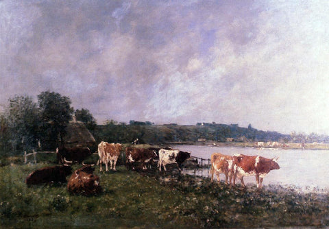 Eugene-Louis Boudin Cows on the Banks of the Touques - Hand Painted Oil Painting