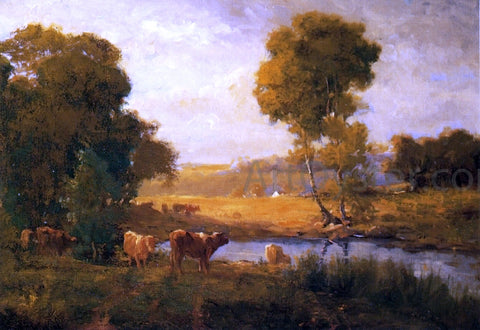 John Carleton Wiggins Cows Watering near the Farm - Hand Painted Oil Painting
