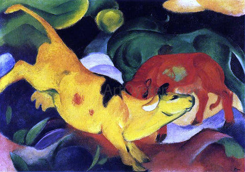 Franz Marc Cows, Yellow-Red-Green - Hand Painted Oil Painting