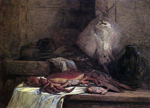 Eugene-Louis Boudin Crab, Lobster and Fish (also known as Still Life with Skate) - Hand Painted Oil Painting