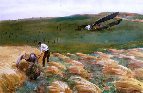 John Singer Sargent Crashed Aeroplane - Hand Painted Oil Painting