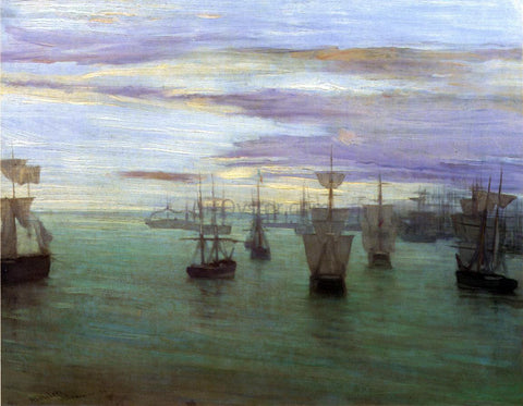 James McNeill Whistler Crepuscule in Flesh Colour and Green: Valparaiso - Hand Painted Oil Painting