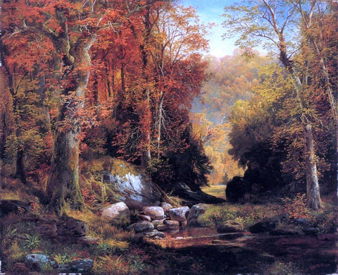 Thomas Moran Cresheim Glen, Wissahickon, Autumn - Hand Painted Oil Painting