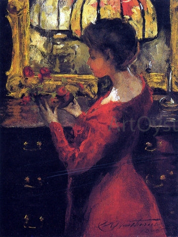 Charles Webster Hawthorne Crimson Roses - Hand Painted Oil Painting