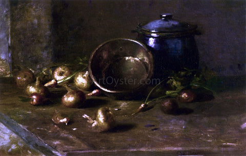 Charles Ethan Porter Crock, Kettle, and Onions - Hand Painted Oil Painting