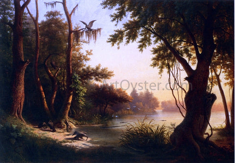 Hyppolite Sebron Crocodile Lake, Louisiana - Hand Painted Oil Painting