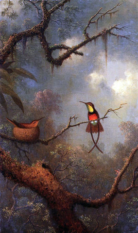 Martin Johnson Heade Crimson Topaz Hummingbirds Nesting in a Tropical Forest - Hand Painted Oil Painting