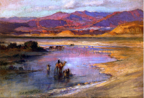 Frederick Arthur Bridgeman Crossing an Oasis, with the Atlas Mountains in the Distance, Morocco - Hand Painted Oil Painting