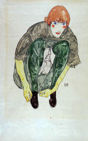 Egon Schiele Crouching Figure (also known as Valerie Neuzil) - Hand Painted Oil Painting