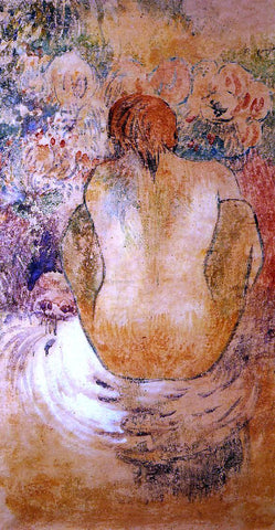 Paul Gauguin Crouching Marquesan Woman See from the Back - Hand Painted Oil Painting