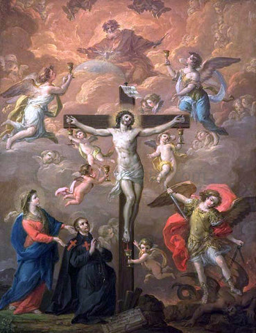 Antonio Gonzalez Velazquez Crucifixion with St Michael - Hand Painted Oil Painting